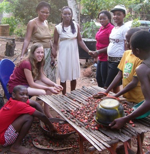 Olumna Lindsey Tulloch with friends in Nigeria